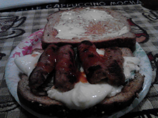 Breakfast - Egg Whites, Turkey Sausage sandwich