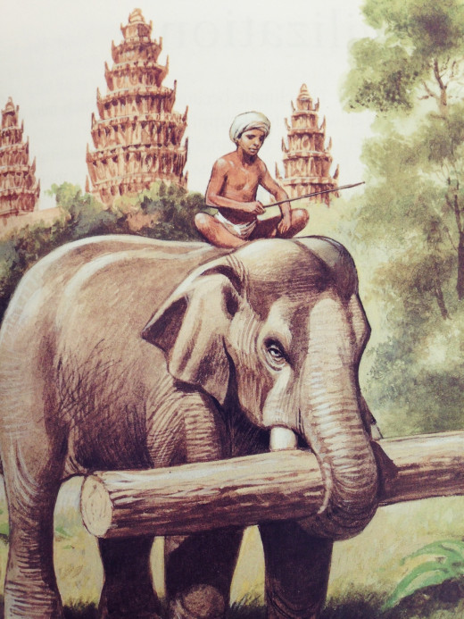 The Khmers had to clear large areas of tropical forest for farming and to make space for building temples. They used elephants to move and carry heavy trees. They also used elephants in warfare.