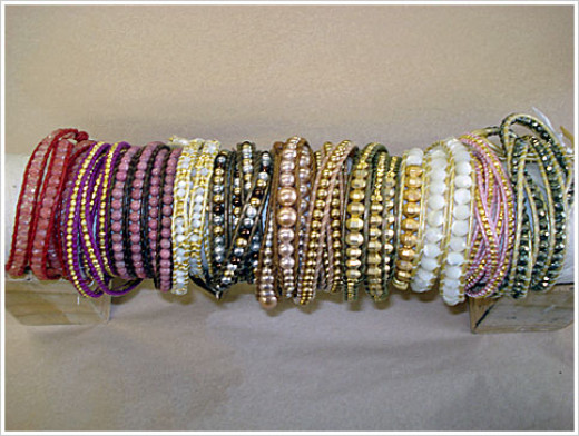 Colorful Presentation of Various Types of Chan Luu Leather Wrap Bracelets from red to white to green and pink