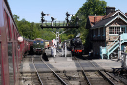Grosmont on a busy summer's day. Several trains halt here on the way to Whitby each day during the summer holiday season. With a NYMR dedicated platform at Whitby there may be more traffic scheduled