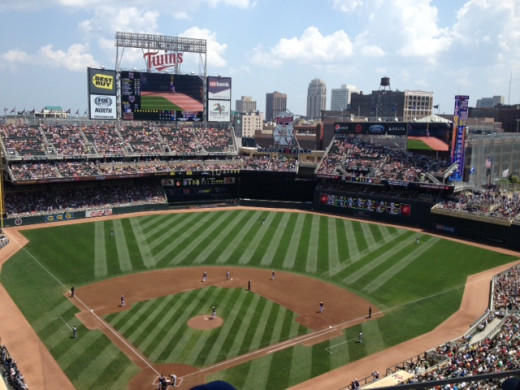 A photo I took at Target Field in Minnesota, from the July 4, 2013 game between the Yankees and Twins.