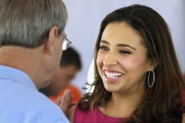 Erika Harold, a 34-year old Harvard trained lawyer and Miss America 2003. (Pageants are apparently a short stop to politics these days).  In 2003, when Harold was 22, said that her last stop would be the White House... as a President!