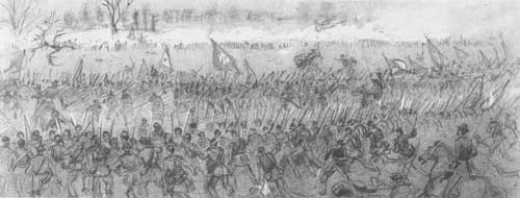 Sketch - Union column of attack surges toward the enemy lines