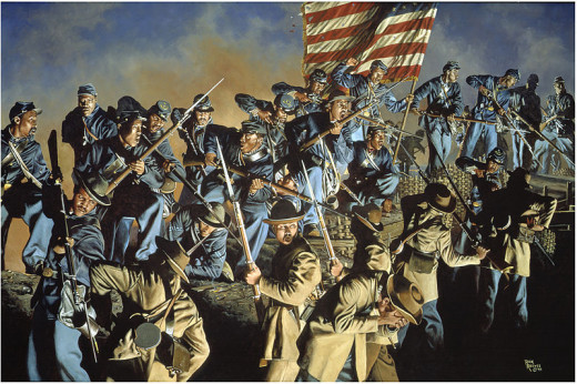 Painting - Union troops mount enemy fortifications