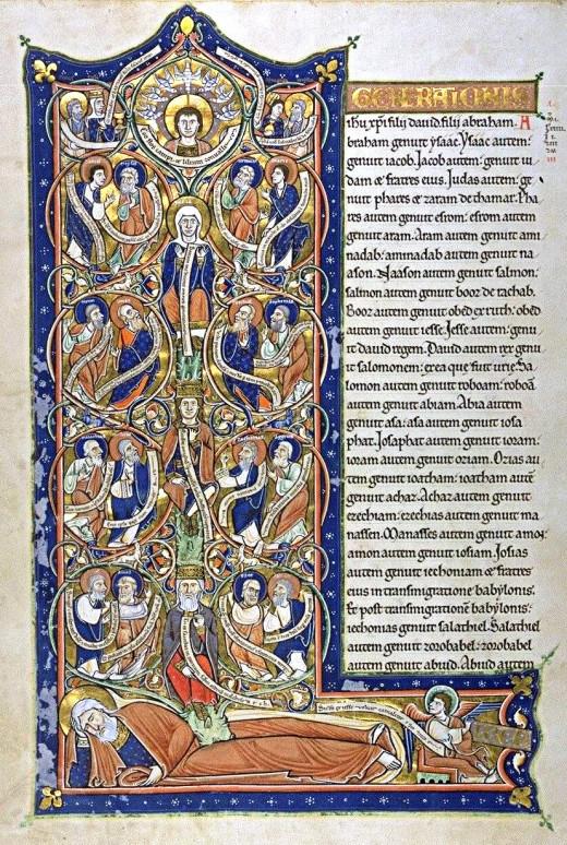 Book of Kells, Luke's Genealogy of Jesus; copied by Celtic monks, AD 800