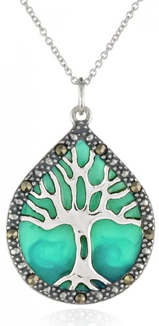 Sterling Silver, Marcasite, and Blue Epoxy Tree of Life Pendant Necklace