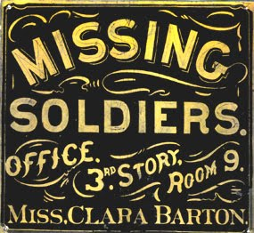 A sign from outside an office that tried to determine fates of missing troops