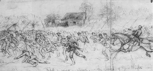 Sketch - rebel prisoners run to the rear of Union lines - to avoid friendly fire - at Spottsylvania, VA