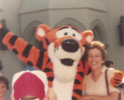 Mom with Tigger at Disney World.
