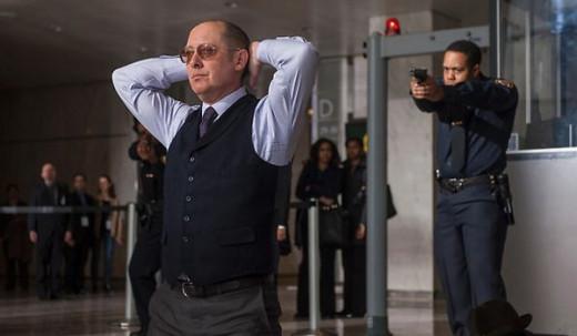 Raymond Reddington (Spader) surrenders