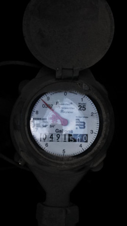 "This water meter has a small ""star"" instead of a triangle. Once you have checked to make sure your toilets are not leaking, any rotation of this star or triangle indicates a likely leak."