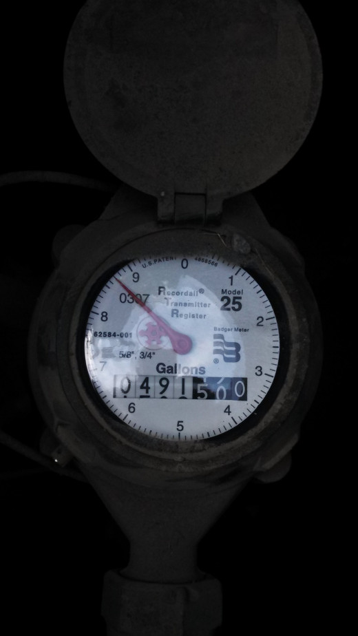 """This water meter has a small """"star"""" instead of a triangle. Once you have checked to make sure your toilets are not leaking, any rotation of this star or triangle indicates a likely leak."""