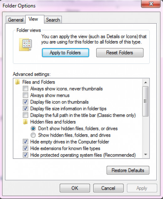 Folder & search options in windows 7
