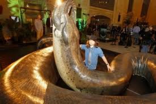 A life sized replica of Titanoboa installed at Grand Central Station.