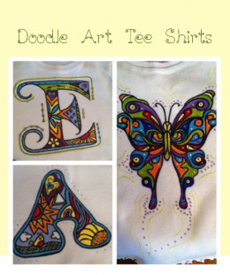Doodle art tee shirts can be painted for toddlers and used to make other projects when they are outgrown.