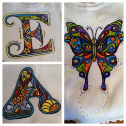 Painted doodle art E, A, and butterfly!