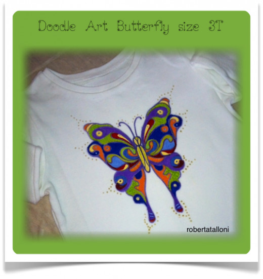 Painted doodle art butterfly, size 3T.