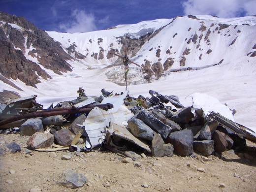 The crash site in Andes from Alive