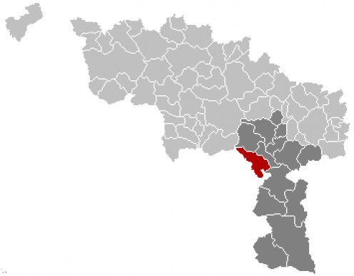 Map location of Erquelinnes, Hainaut, Belgium