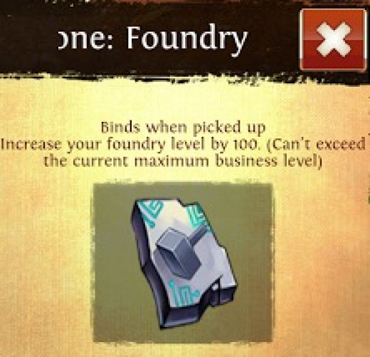 Ancient Slabstone Foundry in the Nick Shop. Gives 100 Foundry Points! Worth it!
