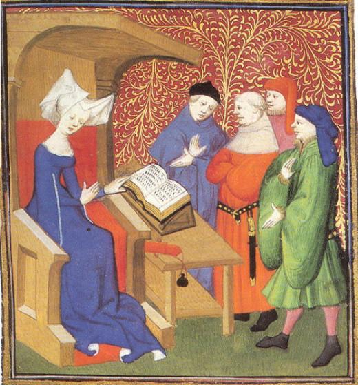 Christine de Pizan lecturing men http://en.wikipedia.org/wiki/Christine_de_Pizan