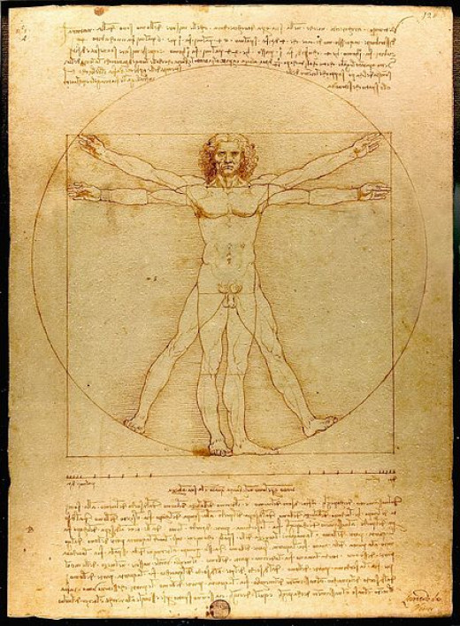 Leonardo art took on the formation of sketched ideas, which illustrated the human muscles. http://en.wikipedia.org/wiki/File:Da_Vinci_Vitruve_Luc_Viatour.jpg