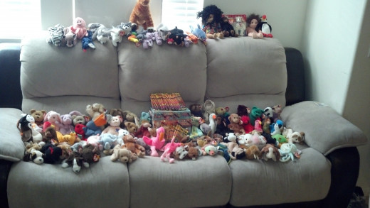 Huge lot of Beanie Babies, bought for about $1 a piece ($70 total). Not the original Beanies, so they don't sell well on E-Bay