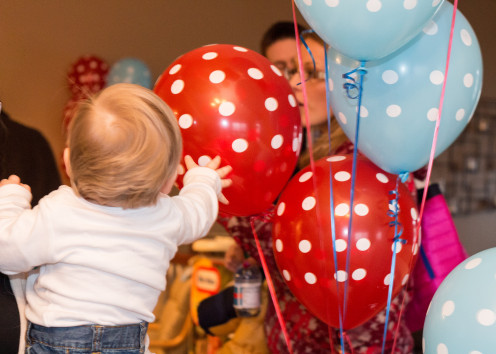Red and turquoise blue polka dot balloons.