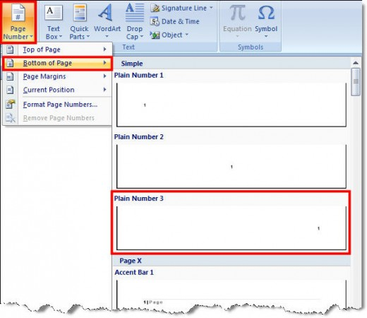 Page Number Options in Microsoft Word