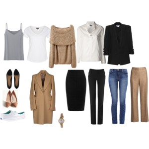 BASIC CAPSULE: Neutral basic pieces, all chic but with no individual style.