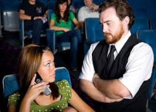 Have you seen this? A rude girl (or boy) refusing to stop talking on their phone so others can enjoy the movie?