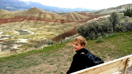 Benches along the Painted Hills Overlook trail allow for extended contemplation of nature's beauty