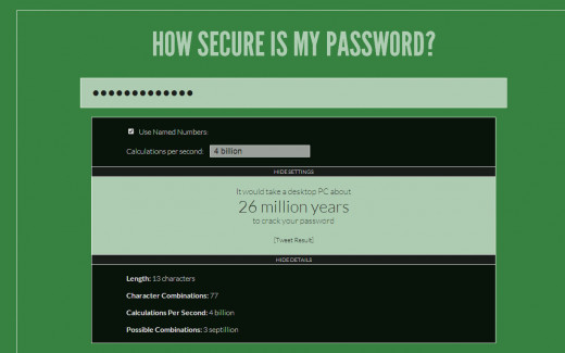Click SHOW DETAILS and you will get this screen telling you of the possible combinations of your password.
