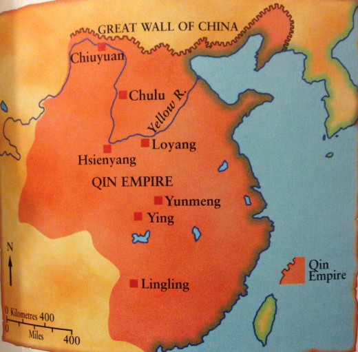From the heartlands along the banks of the Yellow River, the empire of the Qin stretched north to the fort at Juyan, south to Panyu (near modern Canton), and west into the province of Sichuan. Qin is pronounced chin, and the origin of the name China.