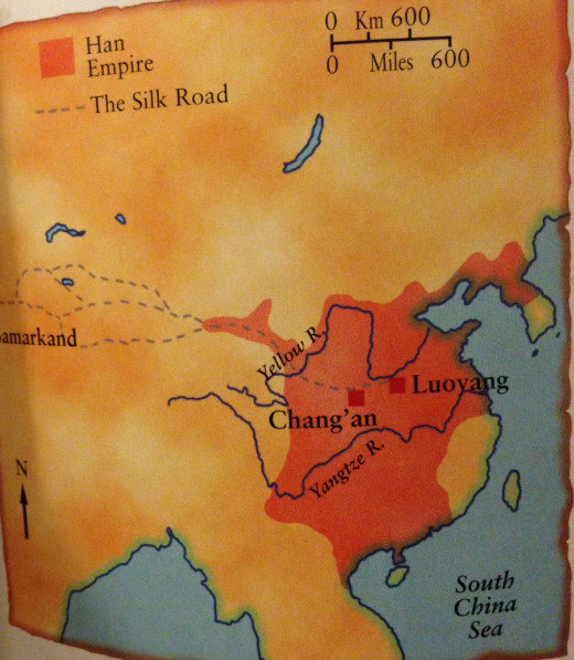 The Han Empire. It stretched far into the northwest, along the routes of the silk merchants into central Asia. The Han emperors also pushed into the south, where population increased towards the end of the Han period.