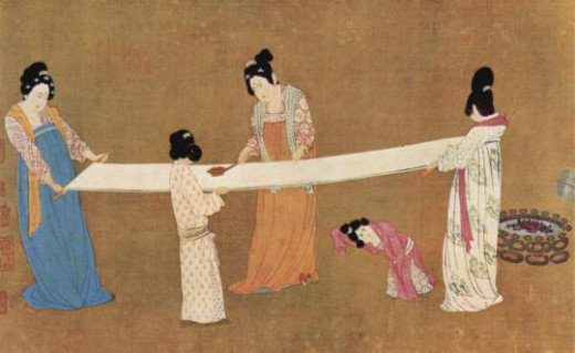 The Chinese used silk for kimonos, wall hangings and, before the Han invented paper and ink, even as a writing material. Silk making began in China some 4000 years ago. The Chinese kept the details of its production secret and earned a huge income.