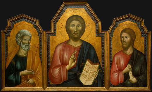 Jesus with James and Peter. Christ is center  with His brother James to His left.
