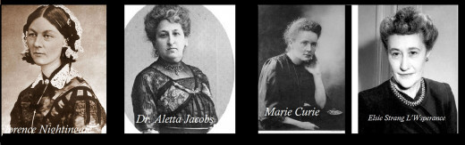 Image of Florence Nightingale, Dr. Aletta Jacobs,Marie Curie, Elsie Strang , (NLM)