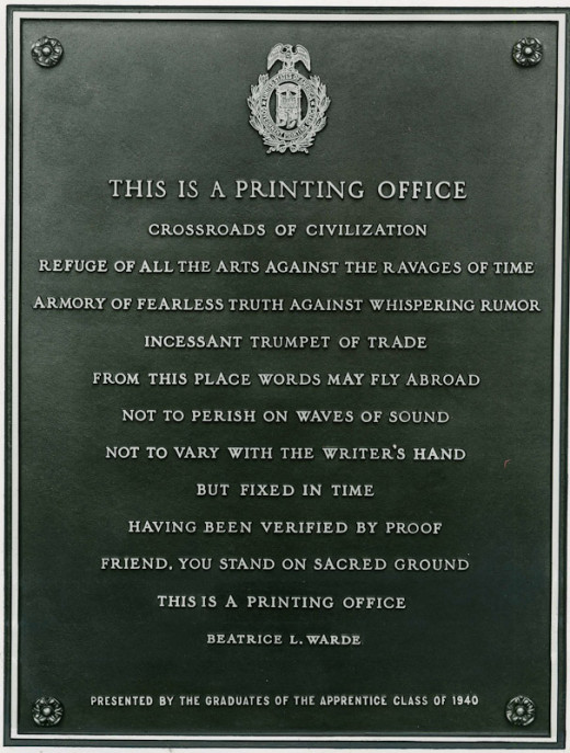 "This bronze plaque with the broadside ""This is a Printing Office"" penned by Beatrice Ward can be found at the enterance of the U.S. Government Printing Office in Washington, D.C."