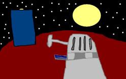 A Dalek approaching the TARDIS.
