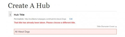 Screen shot of error message regarding an existing title.