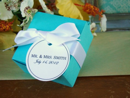 Blue and white wedding favors
