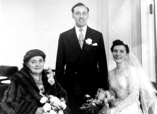 Mum and dad's wedding in 1957, pictured with dad's mum, my Grandma Evans.