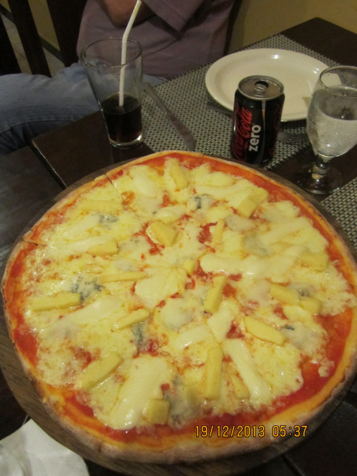 Four cheese pizza. Fabulous.