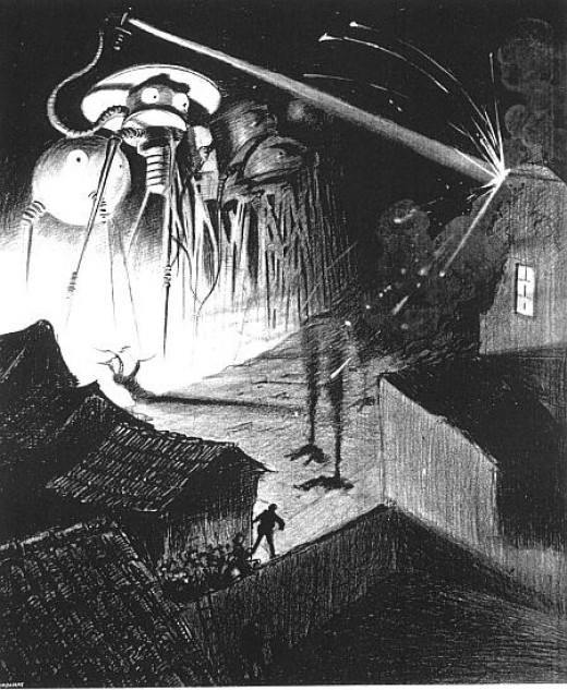 "Artwork for the book ""The War of the Worlds"" of a 1906 Belgian edition by the Brazilian artist Henrique Alvim Corréa. The image shows the Martian fighting-machines destroying a town in England."