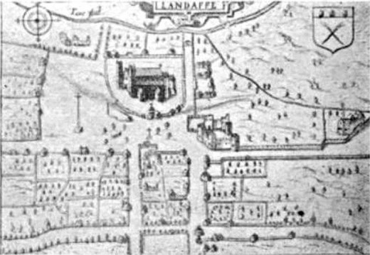 Old map of Llandaff