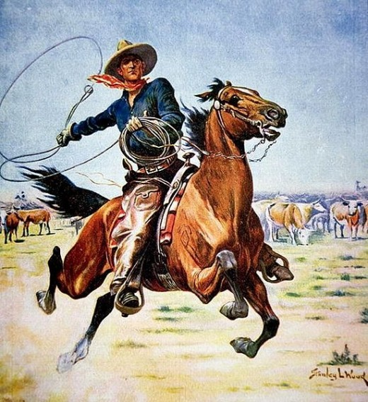 Texas cowboy by Stanley L. Wood (1866-1928), English illustrator.