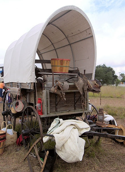 A typical covered wagon of the kind used to cross the Great Plains by white settlers.