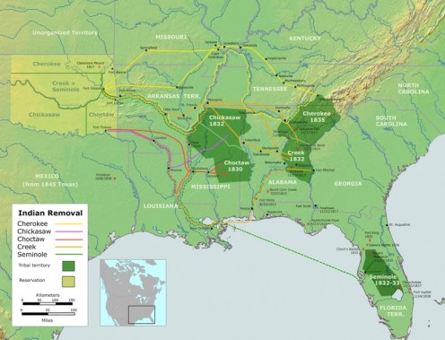 Map of the route of the Trails of Tears — the ethnic cleansing of Native Americans from the Southeastern United States between 1836 and 1839. The forced march of Cherokee removal from the Southeastern United States for forced relocation to the Indian
