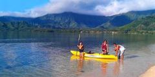 Campground A is a perfect spot for kayaking with a gorgeous view of the Ko'olau Mountains.